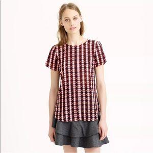 J CREW Petal Sleeve Top in Shadow Diamond Shirt 12